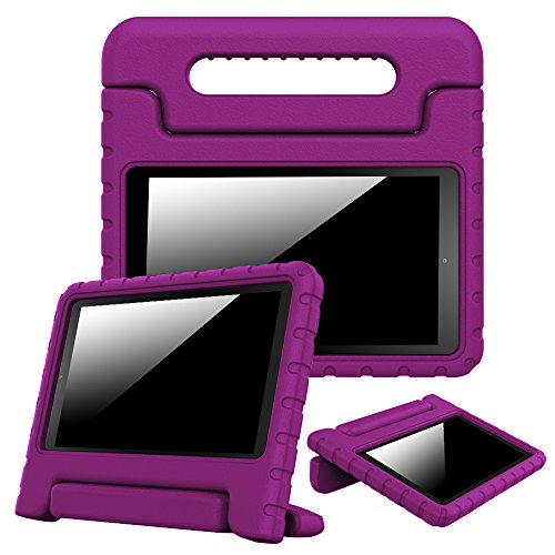Fintie Shock Proof Case for Amazon Fire HD 8 (Previous Generation - 6th) 2016 Release - Kiddie Series Light Weight Convertible Handle Stand Kids Friendly Cover, Purple