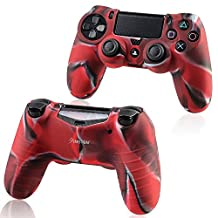 PS4 Controller Silicone Skin Case Cover, Insten Rubber Silicone Protective Skin Case Cover Compatible With Sony PlayStation 4 PS4 Controller, Camouflage Navy Red