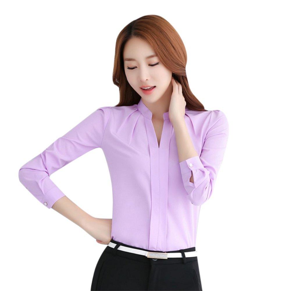 f9dae2c282c1d EFINNY Women Office T-Shirt Uniform OL V Neck Henley Blouse Workwear Tops  at Amazon Women's Clothing store: