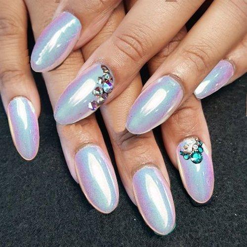 Iridescent Nail Powder Blue: PrettyDiva Mermaid Chrome Nail Powder, Neon Iridescent