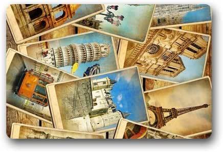 "CozyBath Eiffel Tower Non-woven Fabric 23.6""(L) x 15.7""(W)Machine-washable Indoor/Outdoor/Shower/Bathroom Doormat"