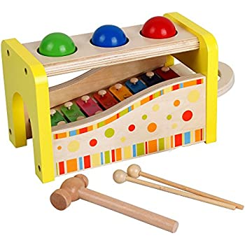 Wooden Pounding and Hammering Educational Bench Toys with Slide out Xylophone for Children