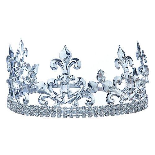 Men's Imperial Medieval Fleur De Lis Silver Prince/King Crown T1770 7 Inch Fleur De Lis