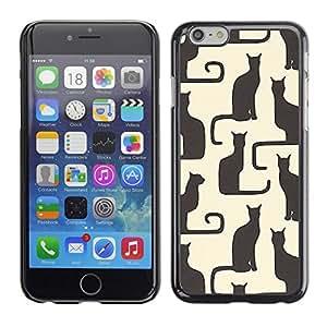 TopCaseStore / la caja del caucho duro de la cubierta de protección de la piel - Art Beige Black Yellow Kitten Pattern - Apple iPhone 6