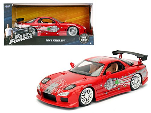 Car Rx Red 7 Mazda - Dom's Mazda RX-7 Red Fast and Furious Movie 1/24 Model Car by Jada