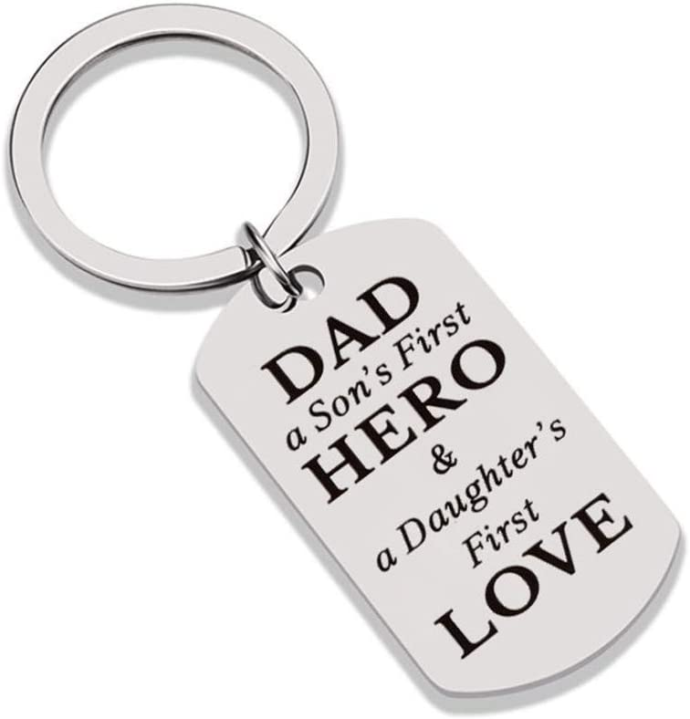 Dad A Sons First Hero A Daughters First Love Keychain Dog Tag Great Gift For Fathers Day Birthday Or Christmas Gift For Dad Daddy From Daughter Son Men Novelty