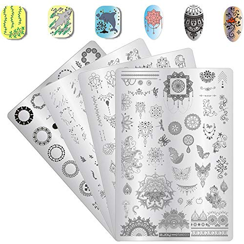 4Pcs Nail Art Stamp Stamping Template Plat Set Valentine's Day Animal Flower Image Nail Templates Plates Printing Tools ()
