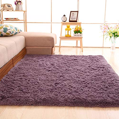 Soft Area Rugs, NUOKIM Nursery Rugs for Baby, Thin Carpet for Kids Bedrooms, Bedroom Rugs 4 x 5.3 Feet (Gray Purple)