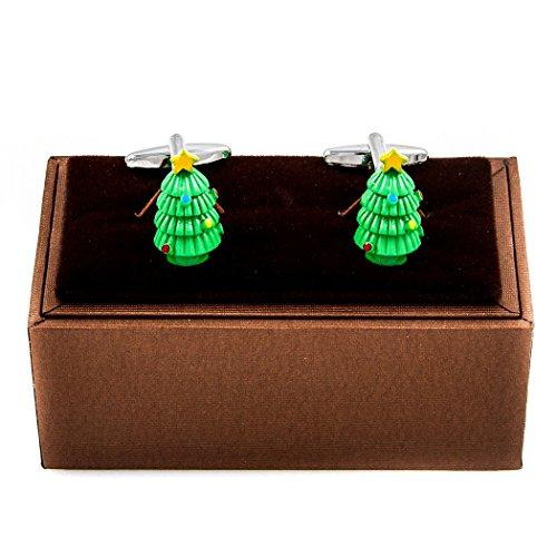 Christmas Tree Cufflinks - MRCUFF Christmas Tree Presentation Gift Box Pair Cufflinks & Polishing Cloth