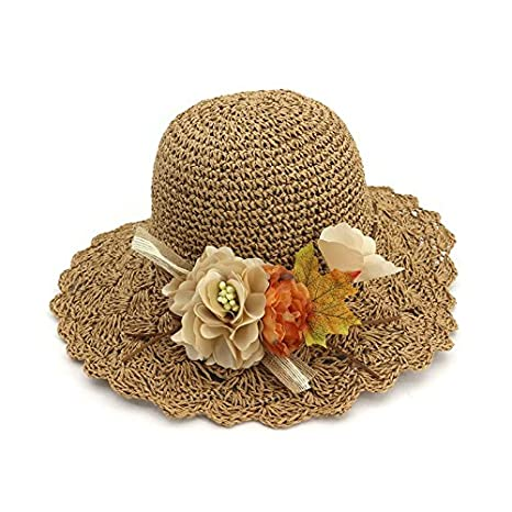 d92ad31c012c8 ALWLj Hand-Woven Crochet Women Sun Hats With Floral Outdoor Beach Straw Hat  Lady Wide