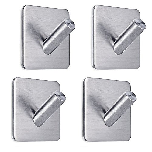 Adhesive Hooks, FOTYRIG Heavy Duty Wall Hooks Hangers Stainless Steel Hooks Stick On Bathroom Kitchen for Dog Leash, Umbrellas, Scarves, Towels, Robes, Bags, Coats, Keys, Calendars -4 Packs
