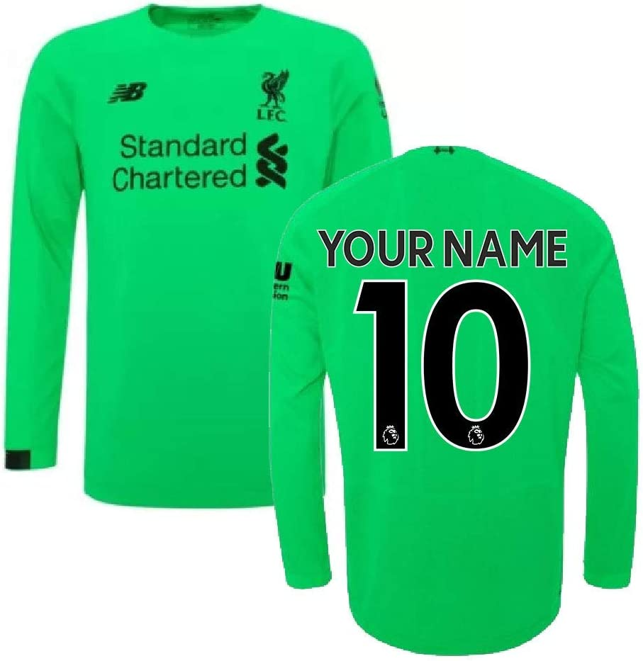 2019 2020 Liverpool Away Long Sleeve Goalkeeper Football Soccer T Shirt Jersey Green Your Name Soccer Equipment Amazon Canada