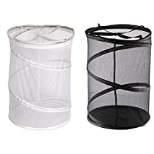 Greenco Heavy Duty High Capacity and Super Lightweight Laundry Hamper (2 Pack), Black/White