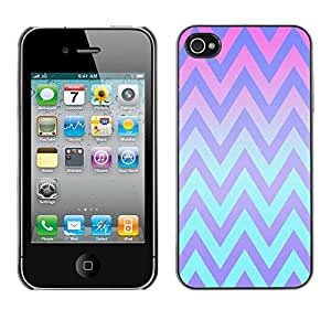 LASTONE PHONE CASE / Carcasa Funda Prima Delgada SLIM Casa Carcasa Funda Case Bandera Cover Armor Shell para Apple Iphone 4 / 4S / Cool Pink Teal Lines Pattern