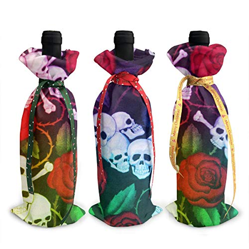 Wodehous Adonis Rose Flower Skull 3Pcs Christmas Wine Bottle Covers Bags Gift Champagne Bags Home Party Decoration -