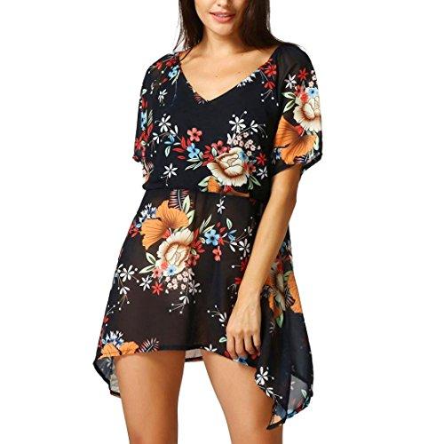 V impresas en camiseta Las Tops grandes sexys de con tallas vestido mujer flores corto blusa cuello Vestidos VENMO mujeres Negro irregulares casual suelta n4fzq6xZ