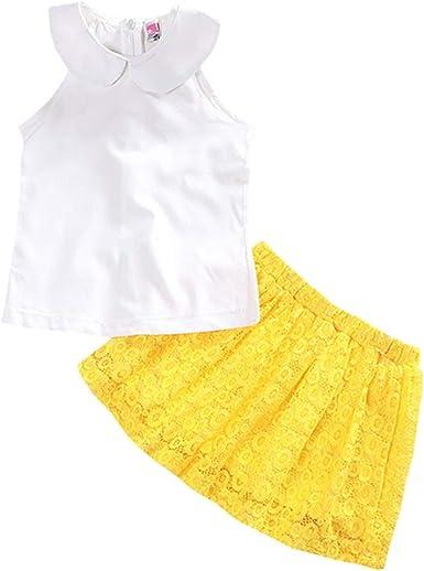 FCQNY Camiseta sin Mangas de algodón con Solapa Blanca para niñas ...