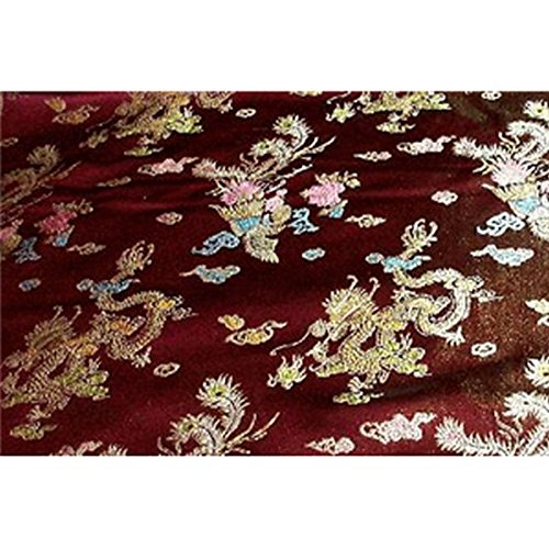 Chinese Faux Silk Dragon Peacock Brocade Satin Fabric Sold By The Yard (Burgundy)