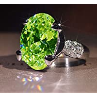 Thanyaluk Gorgeous Women 925 Silver Peridot & White Sapphire Ring Wedding Bridal Jewelry (9)