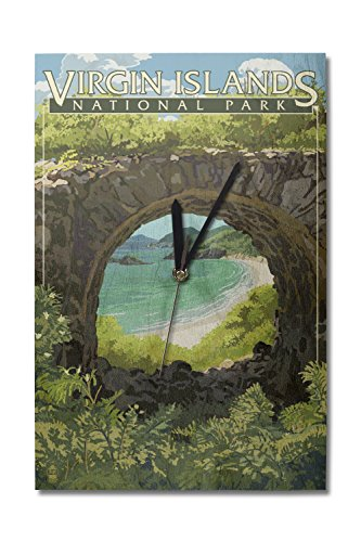 Lantern Press Virgin Islands National Park, US Virgin Islands - View from Ruins (10x15 Wood Wall Clock, Decor Ready to -