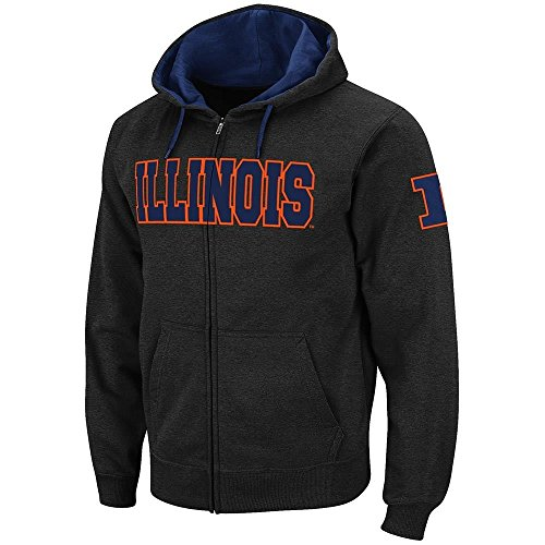 Colosseum Mens Illinois Fighting Illini Full Zip Hoodie - L