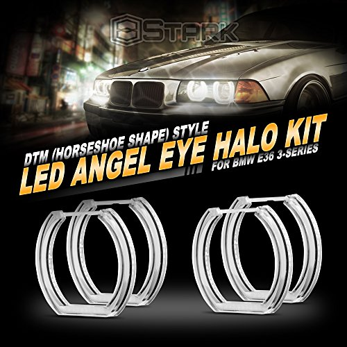 - Stark Crystal Angel Eyes [NO FACTORY HID] - DTM Style - Horseshoe - 16 Colors - RGB w/IR Remote Retrofit (4 Pieces) Compatible with BMW Angel Eye - Fits E36 E38 E39 / E46 Projector Only