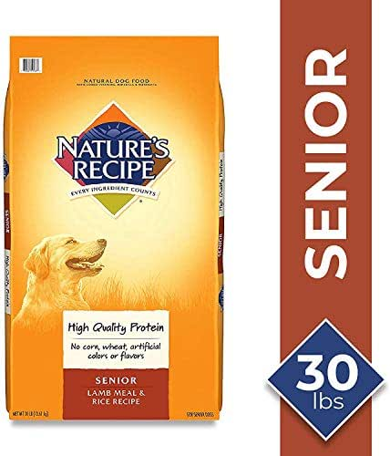 Nature's Recipe Lamb Meal & Rice Recipe Dry Dog Food for Senior Dogs, 30 Pounds