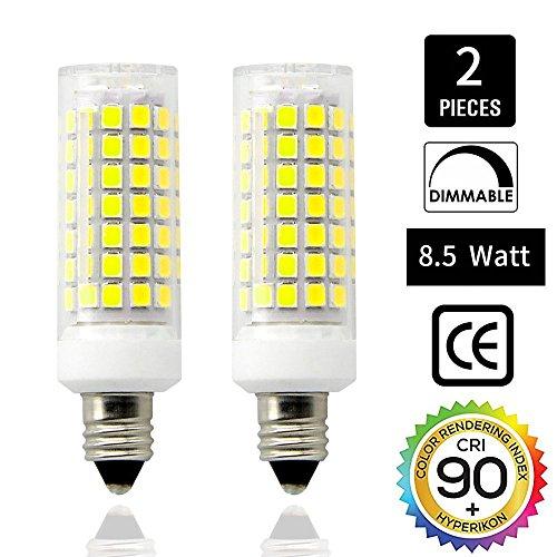 E11 LED Bulbs Dimmable , Mini Candelabra Base,110V 120V 130 Voltage Input, CRI>85, 8.5 Watt, 75W Halogen Bulbs Replacement,JD E11 Base Daylight 6000K T3 T4 LED Bulb for Ceiling Fan(Pack of 2) (E11 Mini Base Candelabra)