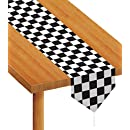 Beistle 54100 Printed Checkered Table Runner, 11-Inch by 6-Feet, Black/White
