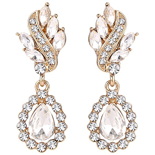 (EleQueen Women's Austrian Crystal Art Deco Tear Drop Dangle Earrings Clip-on Gold-tone)