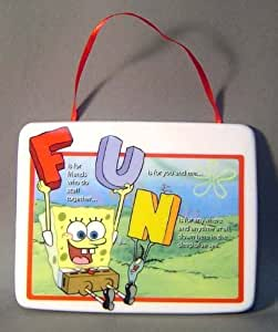Spongebob FUN Ceramic Tile Wall Plaque