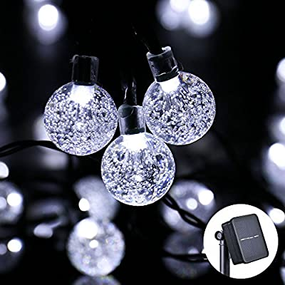 Icicle Solar Christmas Lights, 20ft 30 LED Solar Powered Fairy Globe String Light for Indoor/Outdoor, Christmas, Home, Patio, Lawn, Garden, Wedding, Party Decorations(White)