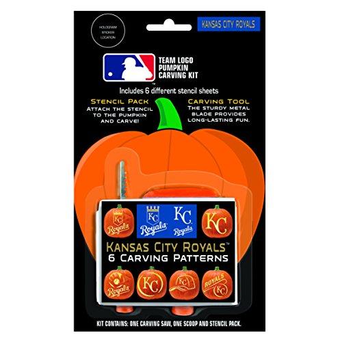 Boelter Brands MLB Kansas City Royals Pumpkin Carving Kit, 6 Stencils, -