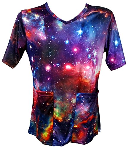Funny Guy Mugs Scrubs Unisex Galaxy Print V-Neck Scrub Top, X-Large (Halloween Scrubs)