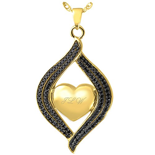 Cremation Memorial Jewelry: 14K Solid Yellow Gold Teardrop Ribbon Heart Black Stones + Text Engraving