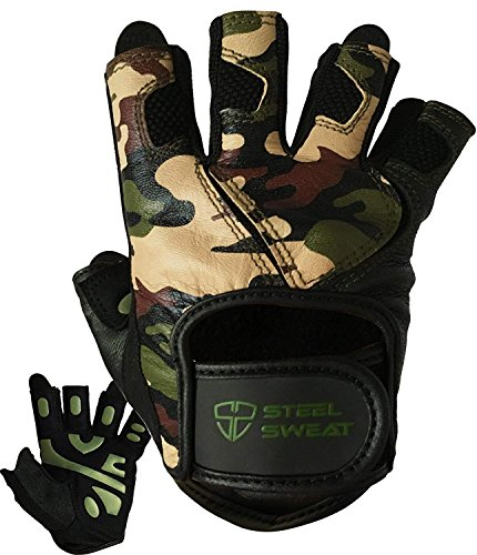 Steel Sweat Workout Gloves - Best for Weightlifting Gym Fitness Training and Crossfit – Made for Men and Women who Love Lifting Weights and Exercise - Leather SCARR Camo XL