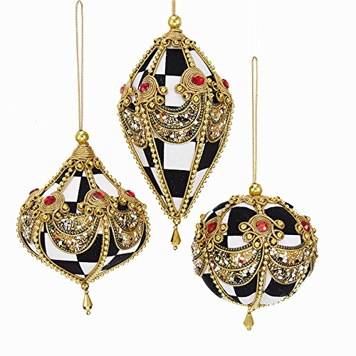 Kurt Adller BLACK AND WHITE CHECK BALL, ONION AND FINIAL ORNAMENT WITH GOLD RAYON ACCENTS, GOLD STAR BEADS AND RED PLASTIC BEADS