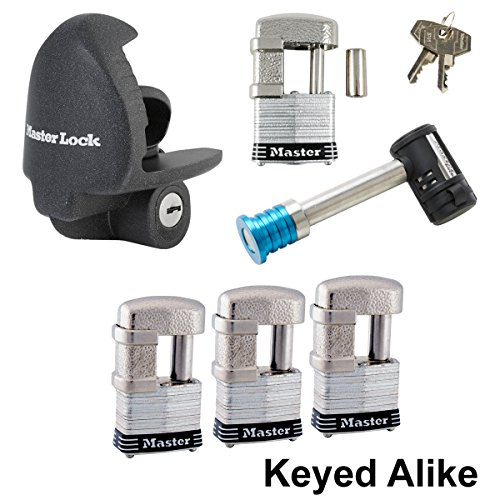 Lock Trailer Coupler Unattended (Master Lock - 6 Trailer Locks Keyed Alike 6KA-37937-37)