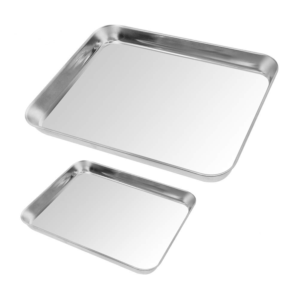 2pack Cookie Baking Sheet, Kuorle Pure Stainless Steel Commercial Bakeware set & Nonstick Baking Pans for Toaster Oven, Non-toxic, Healthy & Dishwasher Safe .