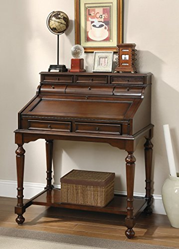10-Drawer Secretary Desk Warm Brown