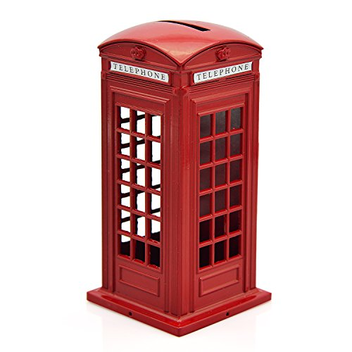 Cafurty Telephone Piggy Bank, Red Metal London Street Telephone Booth Piggy Bank Coin Bank Coin Box - Mini(5