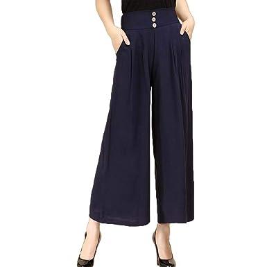 752a0e5618e2 Printemps Automne Elégante Mode Femme Pantalon Large Taille Élastique Uni  Manche Style de fête Confortable avec Poches Simple Boutonnage Bouffant  Pants ...