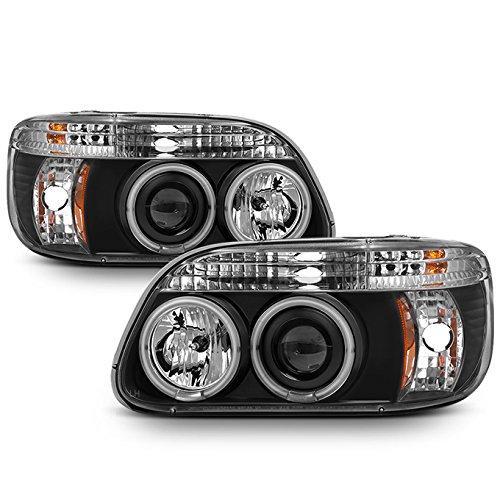 Ford Explorer Black Bezel Dual Halo Ring LED 1pc Design Projector Headlights Front Lamps (Dual Explorer)