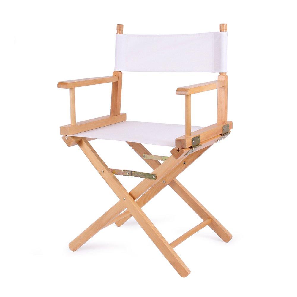 Vogvigo Directors Chair Canvas Contemporary Chair Contracted Folding Chair Mahjong Computer Desk Recreational Chair Canvas Wooden Chair (White)