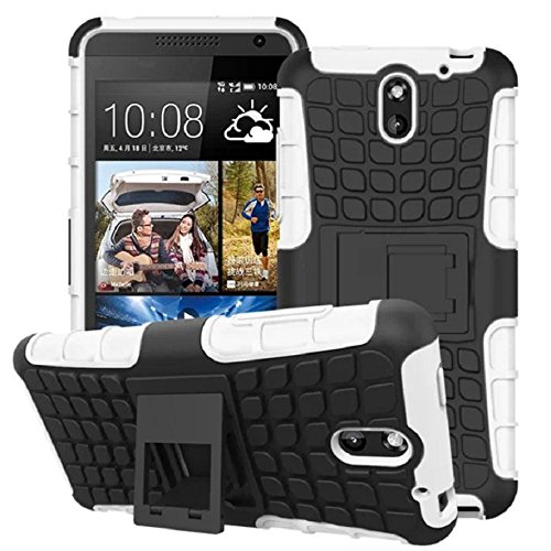 Mokingtop Hybrid Armor Rugged Hard Case Cover Stand Skin for HTC Desire 610 (White)