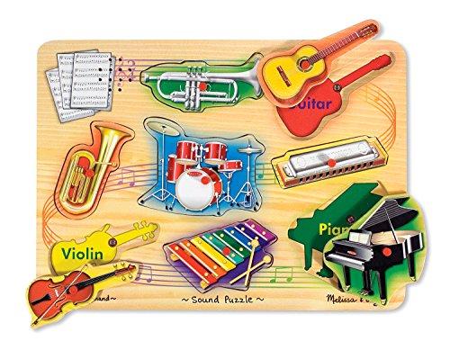 (Melissa & Doug Musical Instruments Sound Puzzle - Wooden Peg Puzzle (8 pcs))