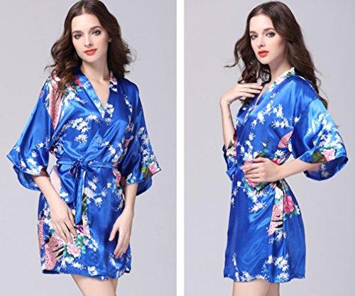 seta Di accappatoi da manica sottile tuta kimono black M amp;L alta Blue sezione qualità di notte signora pigiama LJ camicia estivo 8pqBAzOwz5