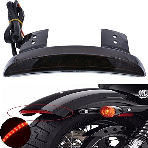 TUINCYN Motorcycle Smoke Lens Chopped Rear Fender Edge Plate Tail Brake License LED light Replacement Light Stop Running Light for Harley Sportster XL883N 1200N XL1200V XL1200X - Edge Fender
