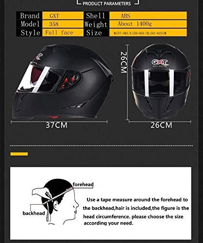 FairOnly Convenient Life Men Flip-up Dual Lenses Full-Face Motorcycle Helmet Antifogging Motorbike Riding Helmet Matte black M