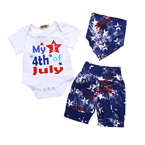KANGKANG My First 4th of July Baby Boy Outfit 4th of July Romper+American Flag Stars Shorts Pants+Baby Bib 3-6 Months Blue